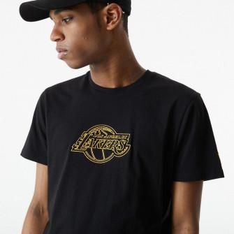 New Era Chain Stitch Los Angeles Lakers T-Shirt ''Black''