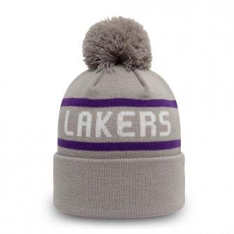 New Era NBA LA Lakers Cuff Bobble Beanie Hat ''Grey''