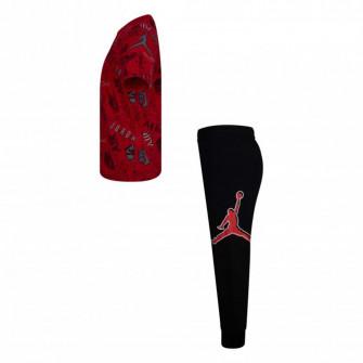 Air Jordan Playground Shirt And Pants Kids Set ''Black/Red''