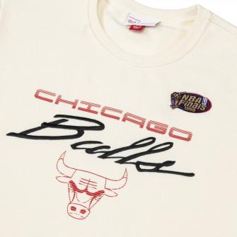 M&N NBA Chicago Bulls Flames Racing Crewneck Hoodie ''White''