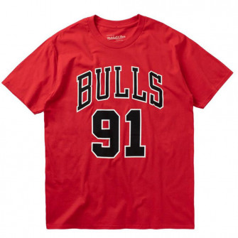 M&N NBA Chicago Bulls Last Dance Number 91 T-Shirt ''Red''