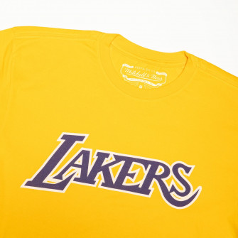 M&N NBA Los Angeles Lakers Worn Logo Wordmark T-Shirt ''Yellow''