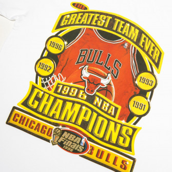 M&N NBA Chicago Bulls 1996 Champions Print T-Shirt ''White''